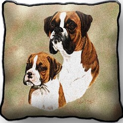 Boxer and Pup Pillow, Made in the USA