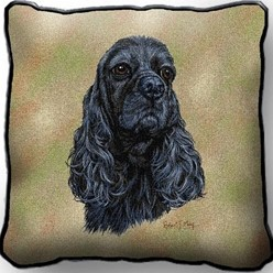 Cocker Spaniel Black Pillow, Made in the USA