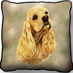 Cocker Spaniel Buff Pillow, Made in the USA