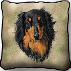 Dachshund Black Longhaired Pillow, Made in the USA