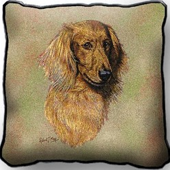 Dachshund Longhaired Red Pillow, Made in the USA