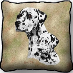 Dalmatian and Pup Tapestry Pillow, Made in the USA