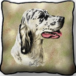 English Setter Blue Belton Pillow, Made in the USA