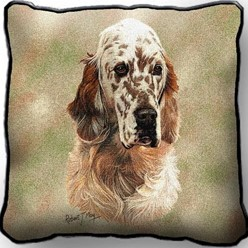 English Setter Orange Belton Pillow, Made in the USA