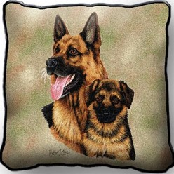 German Shepherd and Pup Pillow, Made in the USA
