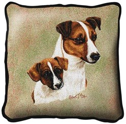 Jack Russell and Pup Pillow, Made in the USA