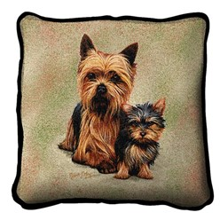 Yorkie and Pup Pillow, Made in the USA