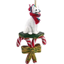 Candy Cane White German Shepherd Christmas Ornament