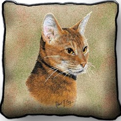 Abyssinian Cat Pillow, Made in the USA