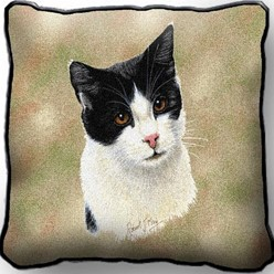 Black and White Cat Pillow, Made in the USA