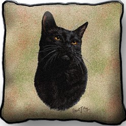 Black Cat Pillow, Made in the USA