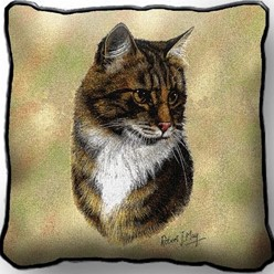 Brown Tabby Cat Pillow, Made in the USA