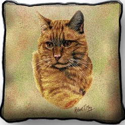 Orange Tabby Cat Pillow, Made in the USA