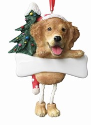 Golden Retriever Dangling Legs Dog Christmas Ornament