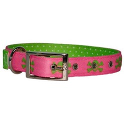 Uptown Pink and Green Skulls Buckle Collar