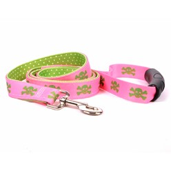 Uptown Pink and Green Skulls Leash