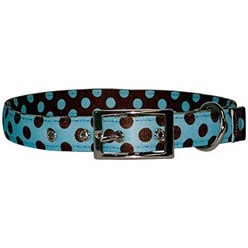 Uptown Blue and Brown Polka Dot Buckle Collar