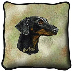 Doberman Uncropped Pillow, Made in the USA