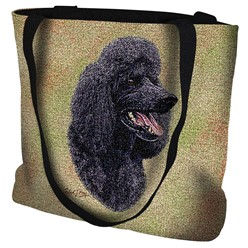 Poodle Black Tapestry Tote Bag