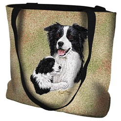 Border Collie with Puppy Tote Bag