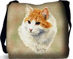 Red and White Cat Tote