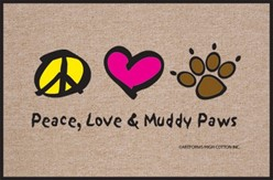 Peace, Love, Muddy Paws Mat