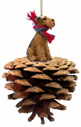 Pine Cone Airedale Dog Christmas Ornament