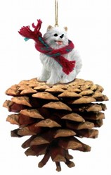 Pine Cone Miniature American Eskimo Dog Christmas Ornament