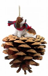 Pine Cone Basset Hound Dog Christmas Ornament