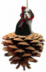Pine Cone Bearded Collie Dog Christmas Ornament