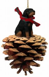 Pine Cone Black and Tan Coonhound Dog Christmas Ornament