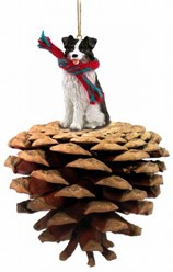 Pine Cone Border Collie Dog Christmas Ornament