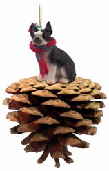 Pine Cone Boston Terrier Dog Christmas Ornament