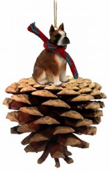 Pine Cone Boxer Dog Christmas Ornament
