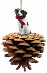 Pine Cone Brittany Dog Christmas Ornament
