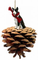 Pine Cone Bull Terrier Dog Christmas Ornament