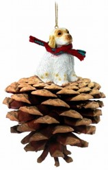 Pine Cone Clumber Spaniel Dog Ornament