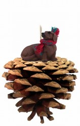 Pine Cone Dachshund Dog Christmas Ornament