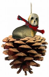 Pine Cone Dandie Dinmont Dog Christmas Ornament