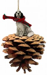 Pine Cone English Setter Dog Christmas Ornament