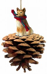 Pine Cone Finnish Spitz Dog Christmas Ornament