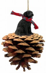 Pine Cone Flat Coated Retriever Dog Christmas Ornament