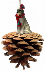 Pine Cone Irish Wolfhound Dog Christmas Ornament