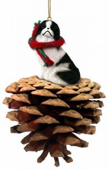 Pine Cone Japanese Chin Dog Christmas Ornament