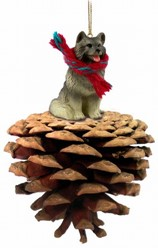 Pine Cone Keeshond Dog Christmas Ornament