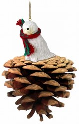 Pine Cone Komondor Dog Christmas Ornament
