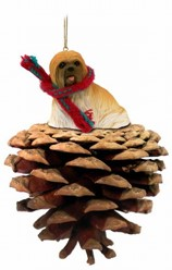 Pine Cone Lhasa Apso Dog Christmas Ornament