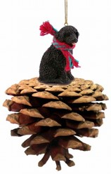 Pine Cone Portuguese Water Dog Christmas Ornament