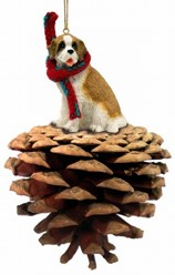 Pine Cone Saint Bernard Dog Christmas Ornament- click for more breed options