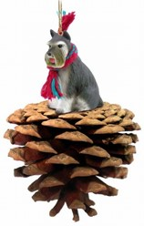 Pine Cone Schnauzer Dog Christmas Ornament- click for more breed colors